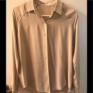 Everlane soft dove grey long sleeve silk top